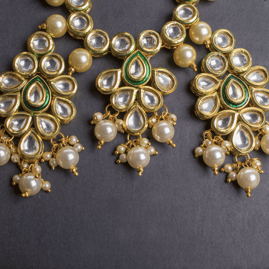 Kundan Necklace And Earrings In Pearl - TCS Sentiments Express