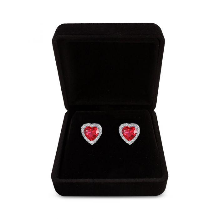 Silver Red Heart Shaped Stud Earrings - TCS Sentiments Express