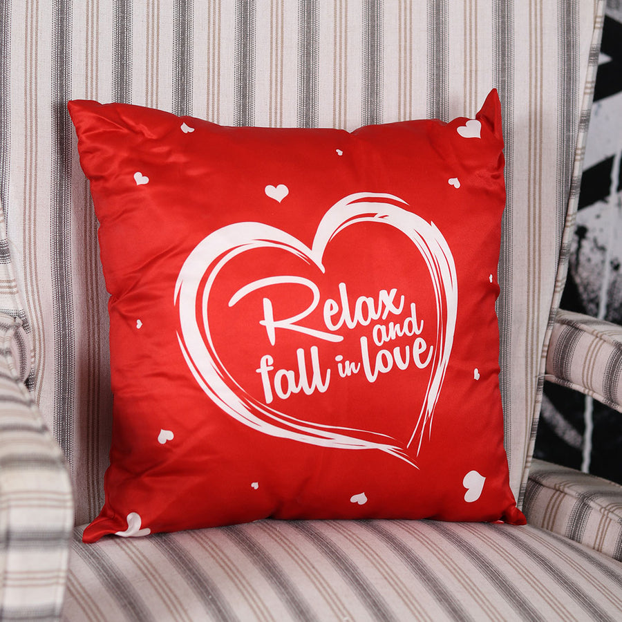 Relax and fall in love cushion red - TCS Sentiments Express