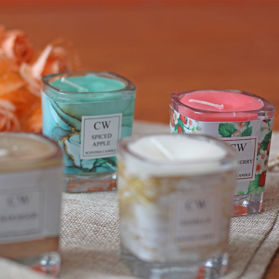 Scented glass candles 4pcs