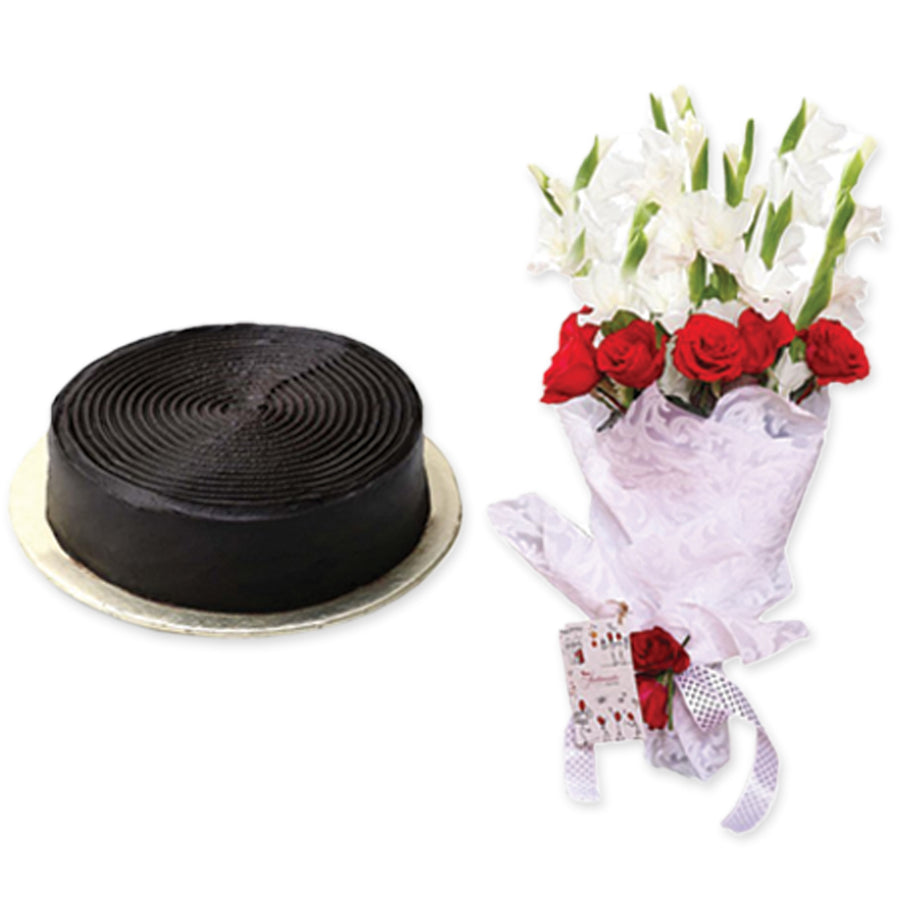 Chocolate Fudge Cake 2 lbs & Celebration Bouquet