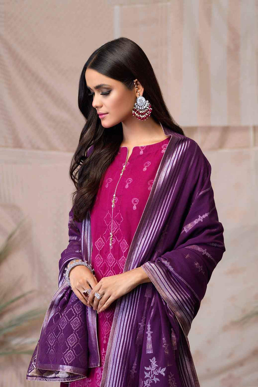 Violet Jacquard Suit - 3 PC