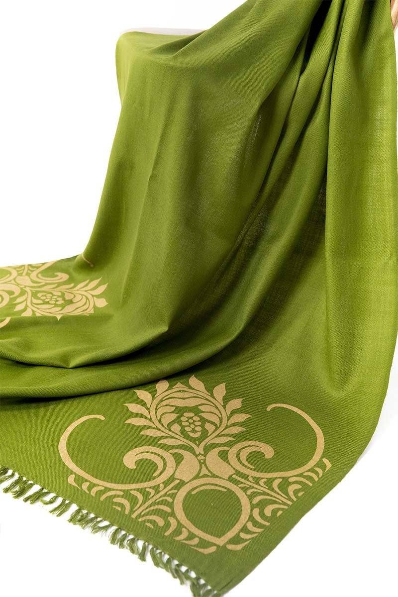 Olive Green Corners Shawl