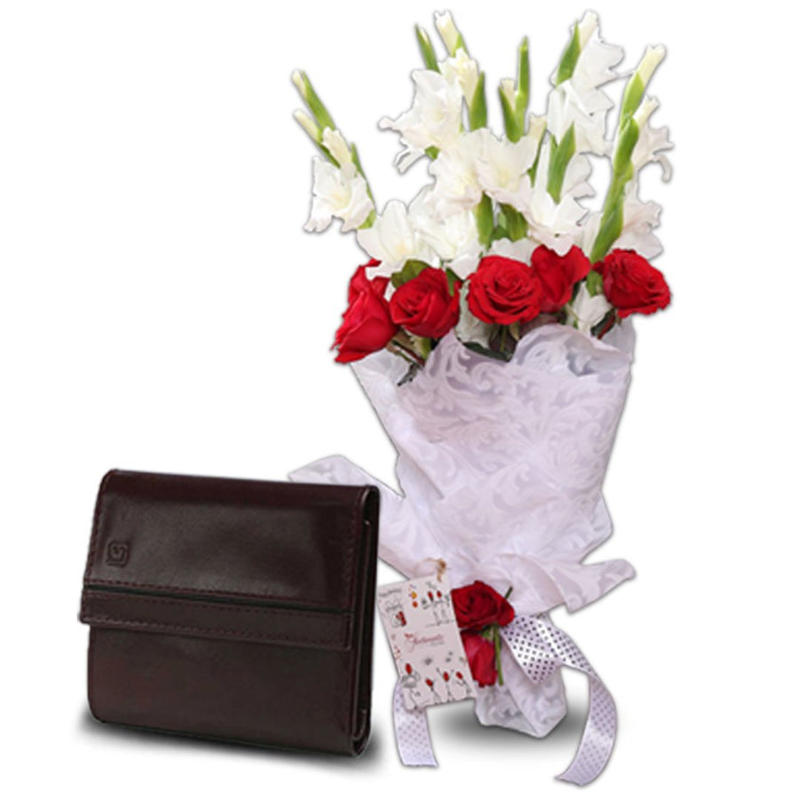 Celebration Bouquet & Ladies Wallet by Mjafferjees