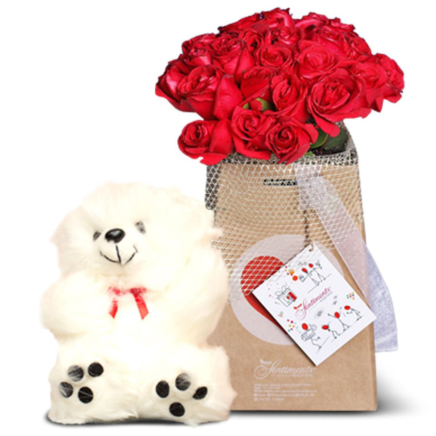 "Whimsical Reds & 8"" Teddy Bear"