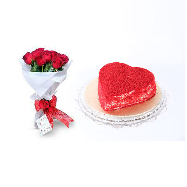 Heart Shaped Red Velvet Cake 2LBS with Dozen Imported Rose - TCS Sentiments Express
