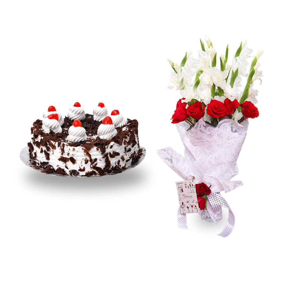 Black Forest Cake 2 LBS & Celebration Bouquet - TCS Sentiments Express