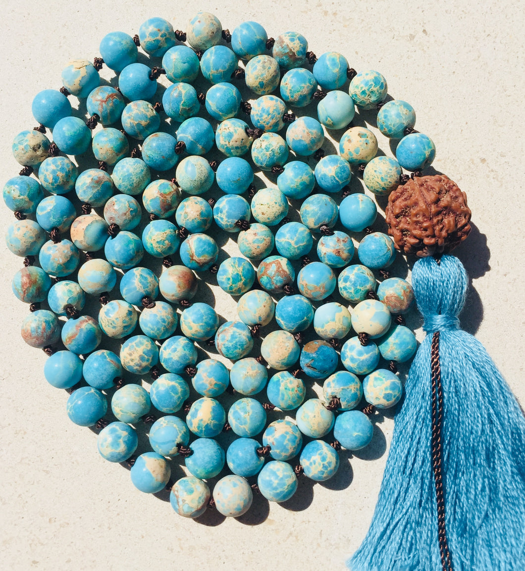 Ocean Blue Sea Sediment Jasper Mala