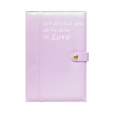 Ameliannette Christian Journal, Bible Verse, Gift: Let all that you do be done in Love - 1 Corinthians 16:14, Lavender, Pale Purple,  Stationery