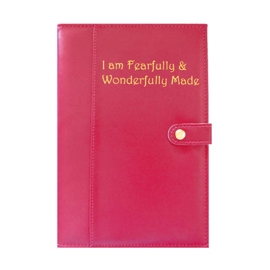 Ameliannette Christian Journal, Bible Verse, Gift: I am Fearfully and Wonderfully Made - Psalm 139:14, Rose, Burgundy, Red, Pink
