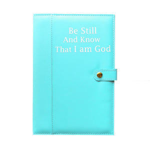 Ameliannette Christian Blue Journal Gift: Psalm 46:10 Be still, and know that I am God, Bible Verse