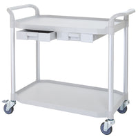 JBLG-2K, LARGEST 2 Shelf Hospital cart with drawers, Off-white