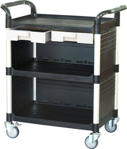 JB-3KC3 | 3 tiers Larger Cabinet Utility carts with ABS drawers |Black color - JaboeEuip