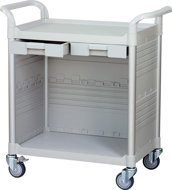JBG-2KC3, 2 Shelf Medical Cabinet Hospital carts - JaboeEuip 3 tiers Shelving Office Rolling Utility cart Service cart Rolling cart