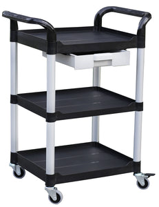 "JBSB-3K-1, 3 tiers Smaller plastic utility carts, ABS drawer, 265 lbs load capacity L28"" x W 19.7"" - JaboeEuip"