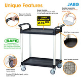 2 Shelf Service Cart Shelf Trolley 275kg load Black ( Europe Stock)