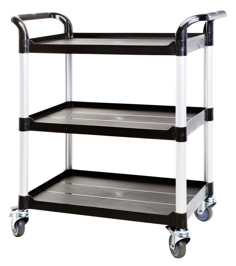 3 Shelf Utility Cart Service Car 275kg load Black (UK Stock)