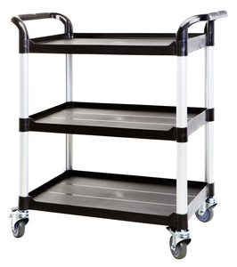 3 Shelf Utility Cart Service Car 275kg load Black (Europe Stock)