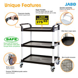 3 Shelf Utility Cart Service Car 606 lbs load Black (US Stock)