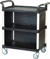 JB-3C3|3 tiers Larger Cabinet Service carts for multi-purpose uses|Black color