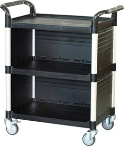 JB-3C3, 3 tiers Larger Cabinet Service carts,Black - JaboeEuip 3 tiers Shelving Office Rolling Utility cart Service cart Rolling cart