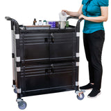 Lockable Cabinet Hospital carts Med cart with 2 lockable doors - JaboeEuip 3 tiers Shelving Office Rolling Utility cart Service cart Rolling cart