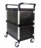 Lockable Cabinet Utility Service carts with 2 lockable doors - JaboeEuip 3 tiers Shelving Office Rolling Utility cart Service cart Rolling cart