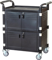JB-3D2, Cabinet Utility Service carts with 2 lockable doors, Black