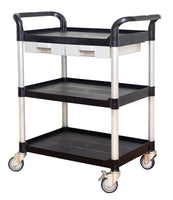 3 tiers Shelving Utility cart Service cart Medical cart with drawers Black (US stock)