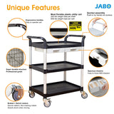 3 Shelves Utility cart Service cart Medical cart with Drawers Black (Europe stock)