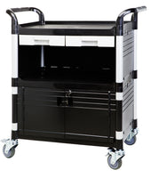3 Shelf Utility Cart Medical Cart with lockable door drawers, 606 lbs - JaboeEuip 3 tiers Shelving Office Rolling Utility cart Service cart Rolling cart