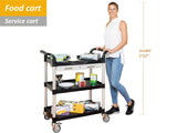 3 Shelves Utility cart Service cart Medical cart with Drawers Black (UK stock)