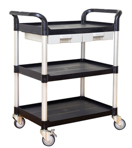 3 tiers Shelving Utility cart Service cart Medical cart with drawers Black (AU stock)
