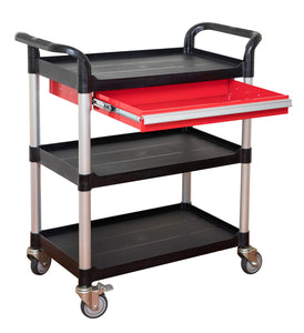 3 tiers Service Carts Utility Cart Tool Trolley with metal drawer - JaboeEuip 3 tiers Shelving Office Rolling Utility cart Service cart Rolling cart