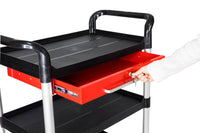 JB-3T1L, 3 tiers Service carts with Lockable metal drawer,Black - JaboeEuip 3 tiers Shelving Office Rolling Utility cart Service cart Rolling cart