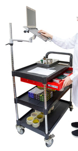 3 tiers Mobile Laptop Rolling cart with Metal drawer - JaboeEuip 3 tiers Shelving Office Rolling Utility cart Service cart Rolling cart