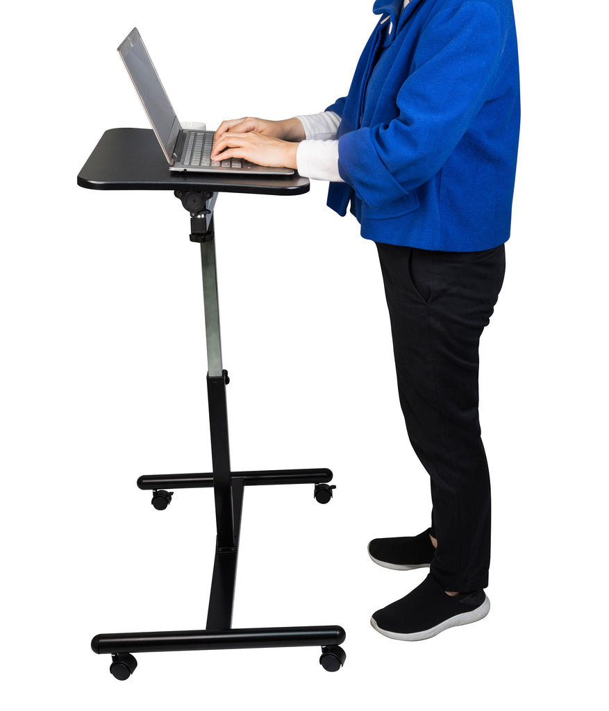 "Mobile Laptop Desk Cart Table Height-Adjustable from 29.13"" to 43.31"" Laptop cart - JaboeEuip 3 tiers Shelving Office Rolling Utility cart Service cart Rolling cart"