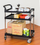 JBB-103-1, Height-Adjustable 3 tiers Shelving Utility carts, Black - JaboeEuip 3 tiers Shelving Office Rolling Utility cart Service cart Rolling cart
