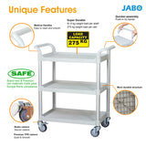 3 Shelf Utility Cart Service Car 275kg load, Off-White (Europe Stock)