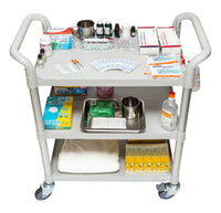 3 Shelves Hospital cart Service cart for Hospital and Hotel, White (US Stock)