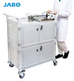 Lockable Cabinet Medical cart with 2 lockable doors 90x50cm, White (AU stock)