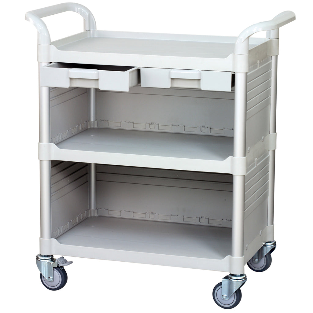 3 Tier Med Hospital cart Dental cart with cabinet & drawers (US Stock)
