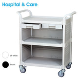 3 Tier Med Hospital cart Dental cart with cabinet & drawers - JaboeEuip 3 tiers Shelving Office Rolling Utility cart Service cart Rolling cart