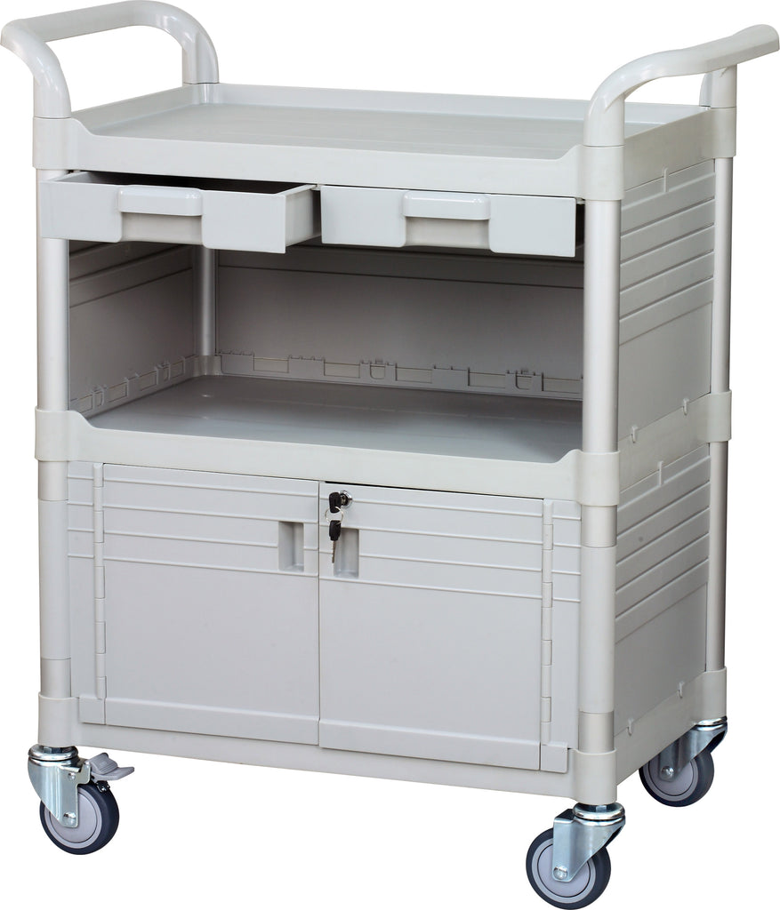 Lockable Medical cart with Lockable door and drawers White (UK Stock)