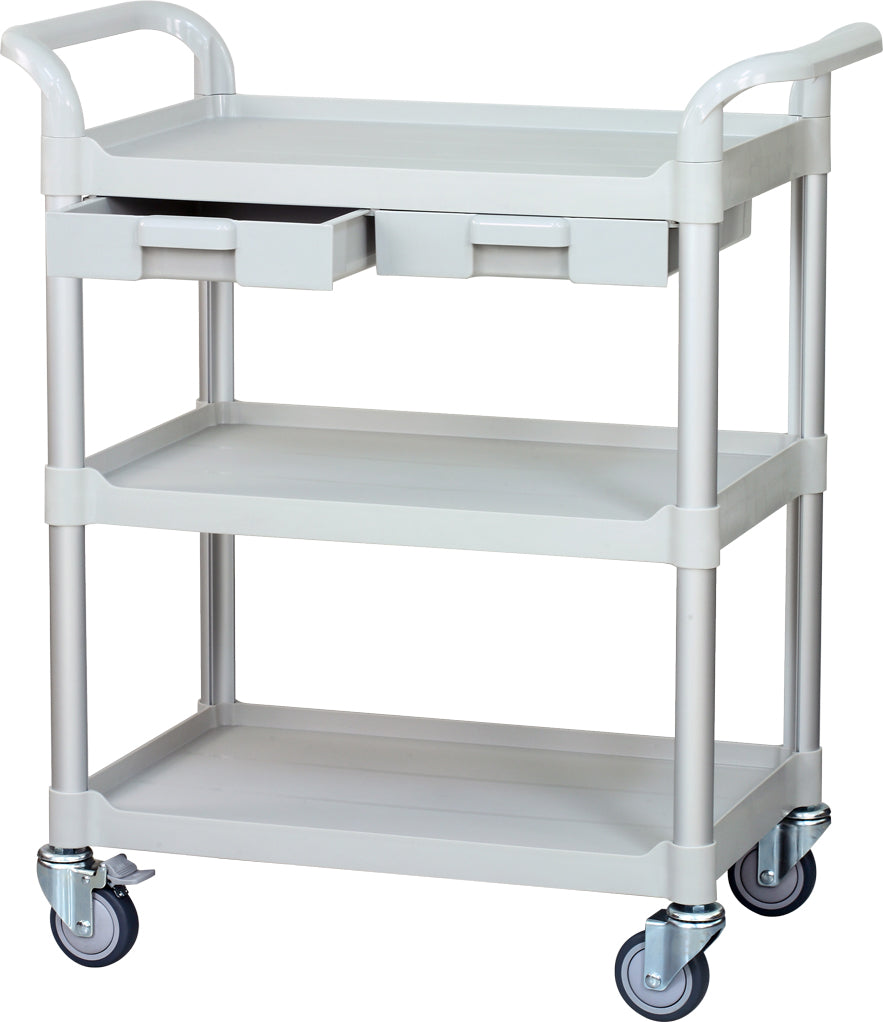 JBG-3K, 3 tiers Shelving Medical carts with ABS drawers, off-white - JaboeEuip 3 tiers Shelving Office Rolling Utility cart Service cart Rolling cart