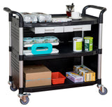 JBL-3KC3, LARGEST 3 Shelf Hospital cart with cabinet & drawers, Black - JaboeEuip 3 tiers Shelving Office Rolling Utility cart Service cart Rolling cart