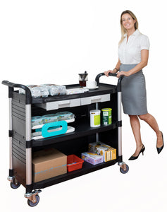 JBL-3KC3, LARGEST 3 Shelf Hospital cart with cabinet & drawers, Black