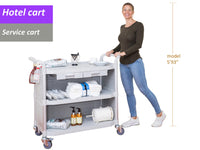 JBLG-3KC3, LARGEST 3 Shelf Hospital cart with cabinet & drawers, Off-white - JaboeEuip 3 tiers Shelving Office Rolling Utility cart Service cart Rolling cart