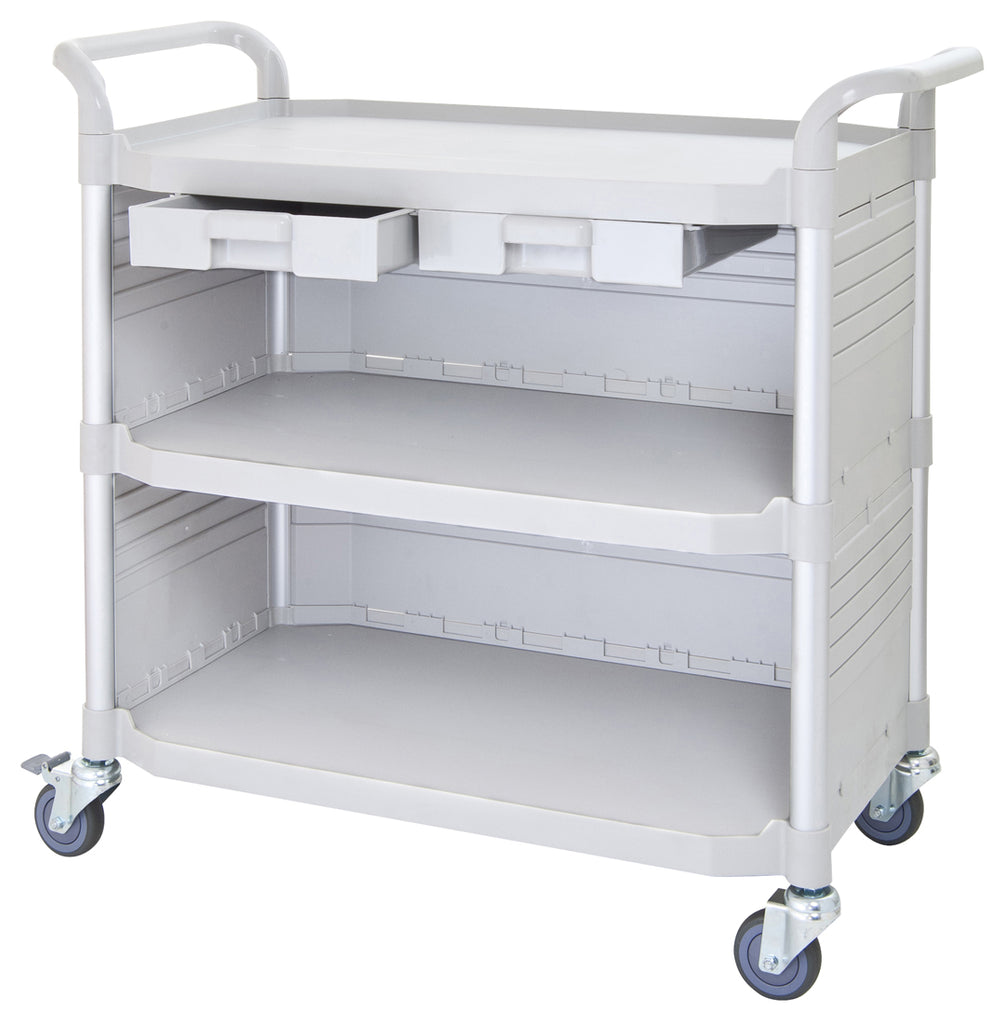 LARGEST 3 Shelf Hospital cart Medical cart with cabinet & drawers, Off-white ( US Stock)
