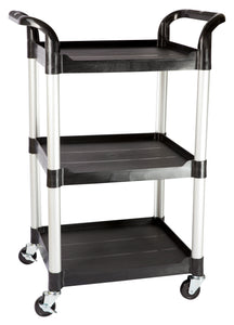 JBSB-300, 3 tiers Smaller plastic utility carts, Black - JaboeEuip 3 tiers Shelving Office Rolling Utility cart Service cart Rolling cart